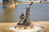 Lewis and Clark statue on Mississippi River