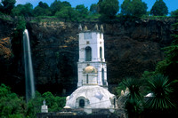 Waterfall and Church in San Miguel Regla, Mexico
