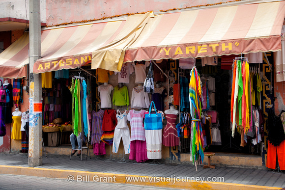 Colorful clothing in shop in Cholula, Mexico