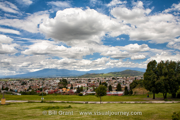View towards the Monastery of San Gabriel and the historic town Cholula, Puebla, Mexico